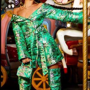 Green Floral Bodycon Dress